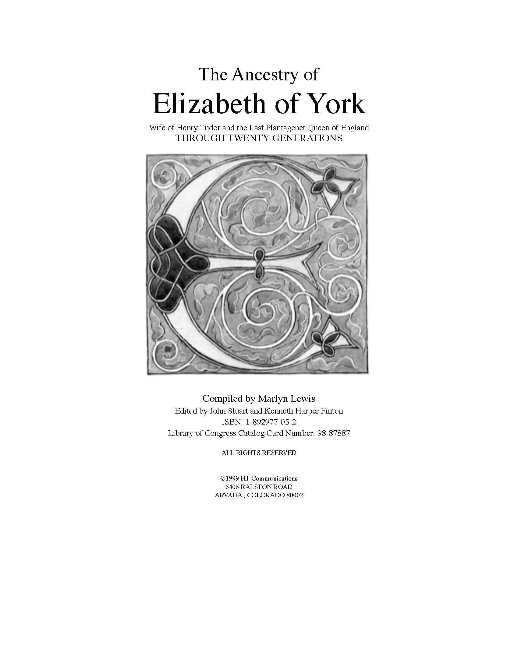 ELIZABETH OF YORK ANCESTRY